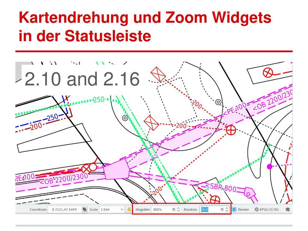Kartendrehung und Zoom Widgets in der Statusleiste