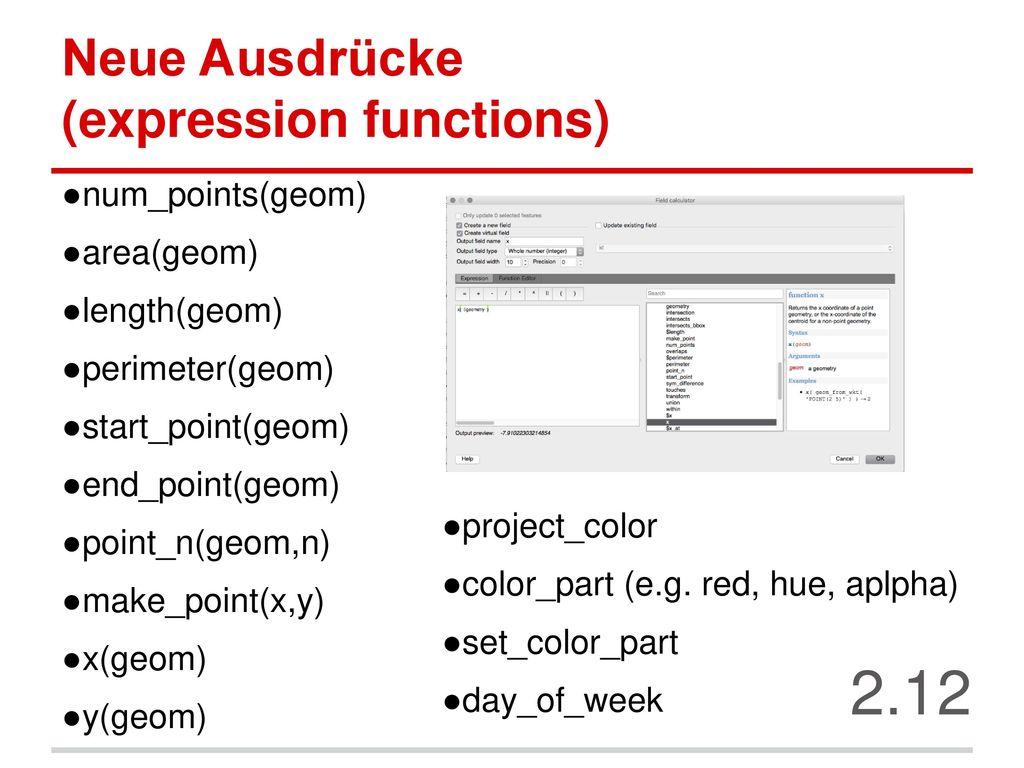 Neue Ausdrücke (expression functions)