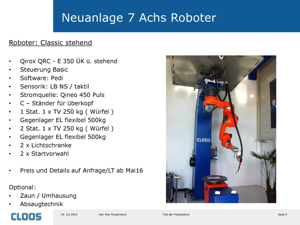 Neuanlage 7 Achs Roboter