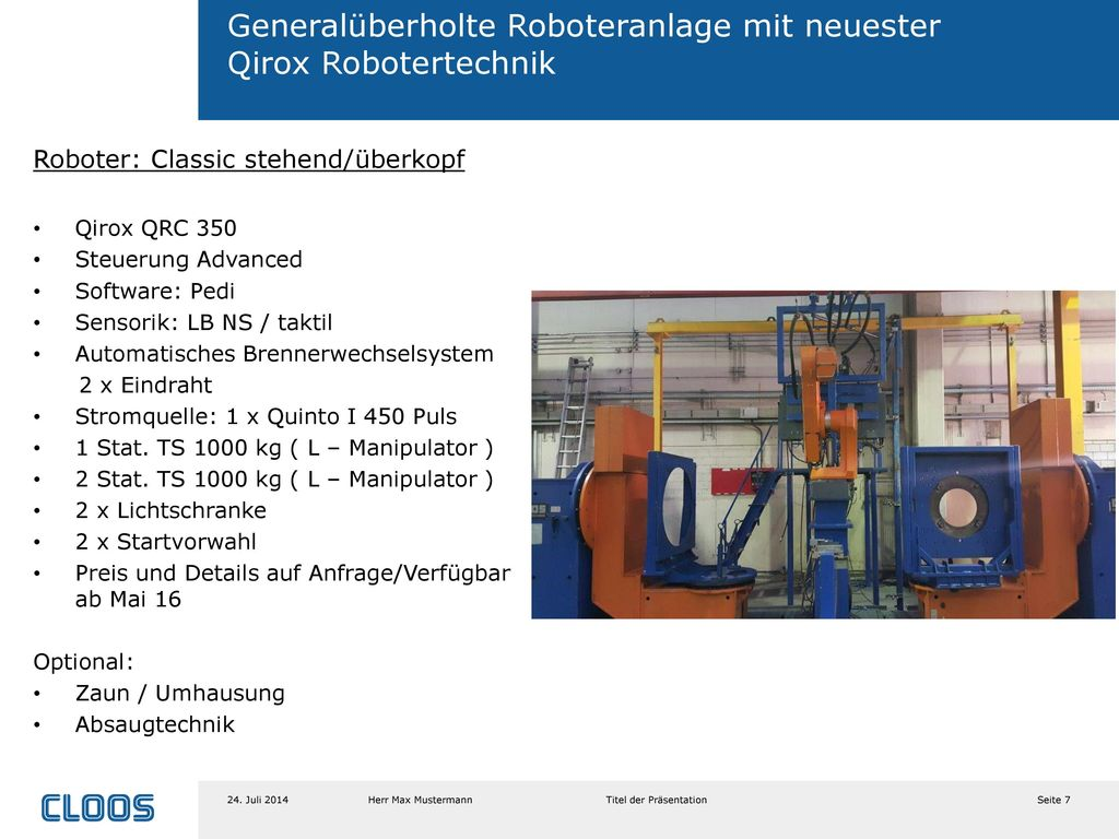 Generalüberholte Roboteranlage mit neuester Qirox Robotertechnik