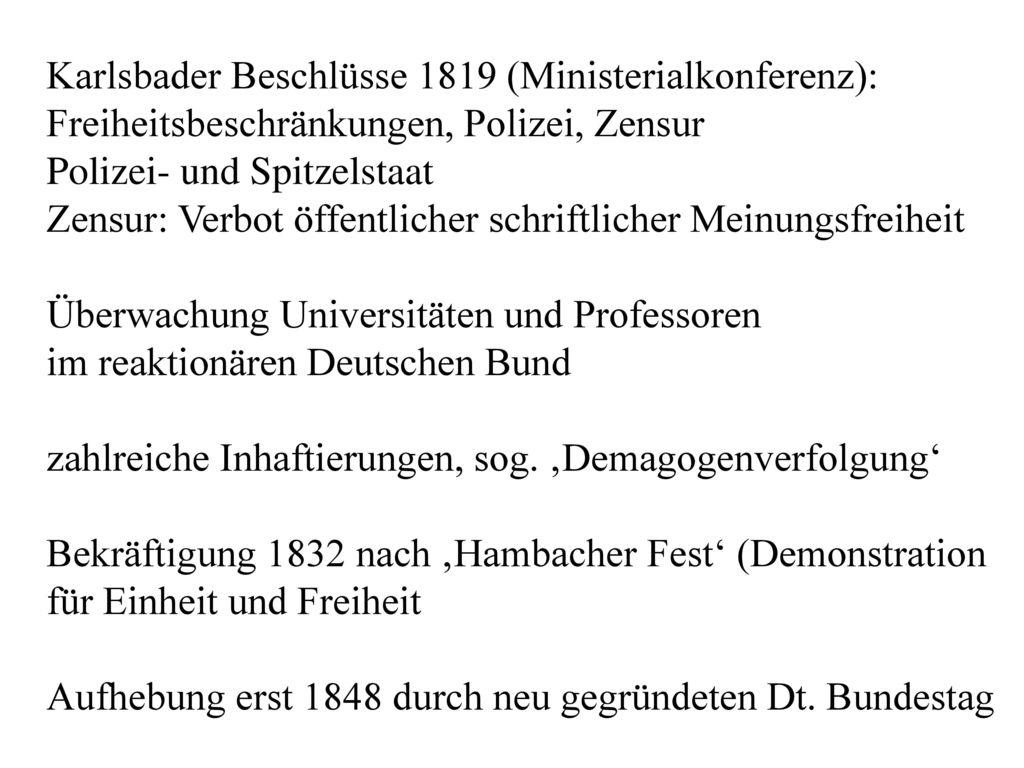 Karlsbader Beschlüsse 1819 (Ministerialkonferenz): Freiheitsbeschränkungen, Polizei, Zensur