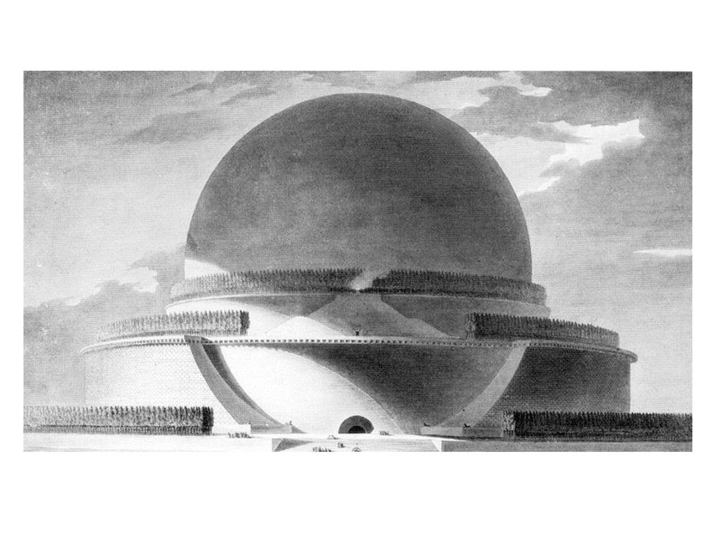 Louis-Etienne Boullée: Kenotaph für Isaac Newton (1784) (geplante Höhe: 150 m)