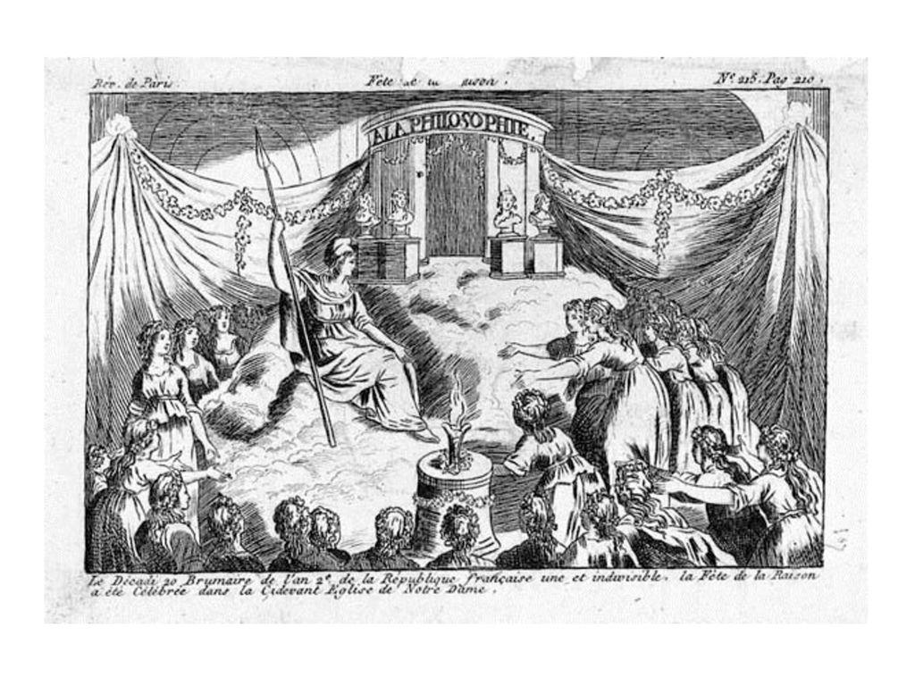 Kult der Vernunft (Radierung 1793, 12 x 20 cm): Kathedrale Notre Dame umfunktioniert - Altar mit Schauspielerin als Verkörperung der Vernunft; Mädchenprozession in antiken Gewändern; Philosophenbüsten; Flamme der Vernunft