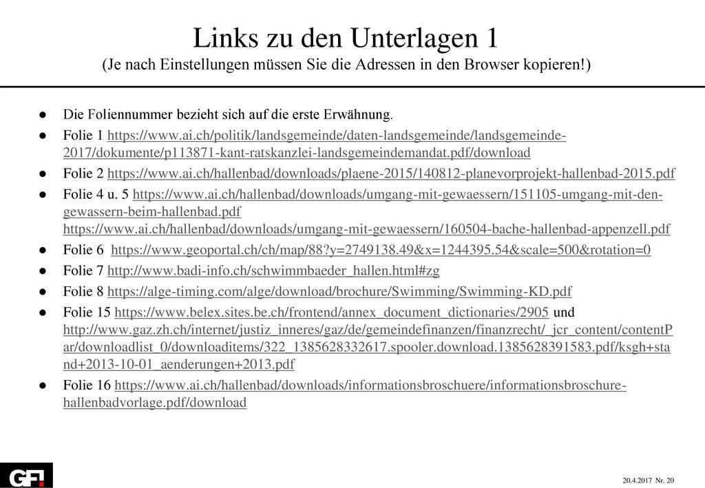 Links zu den Unterlagen 1 (Je nach Einstellungen müssen Sie die Adressen in den Browser kopieren!)
