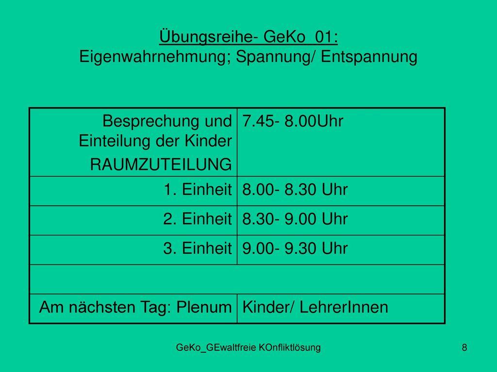 Übungsreihe- GeKo_01: Eigenwahrnehmung; Spannung/ Entspannung