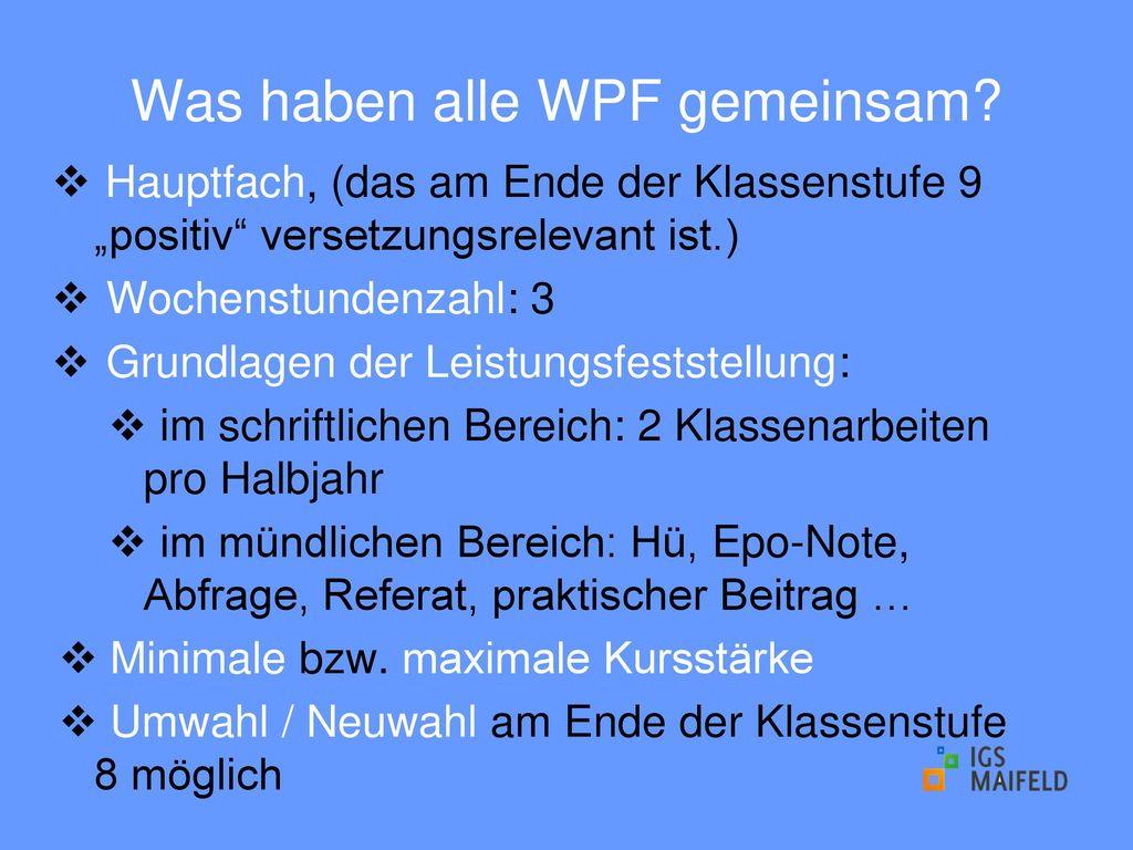Was haben alle WPF gemeinsam