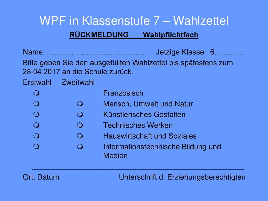 WPF in Klassenstufe 7 – Wahlzettel