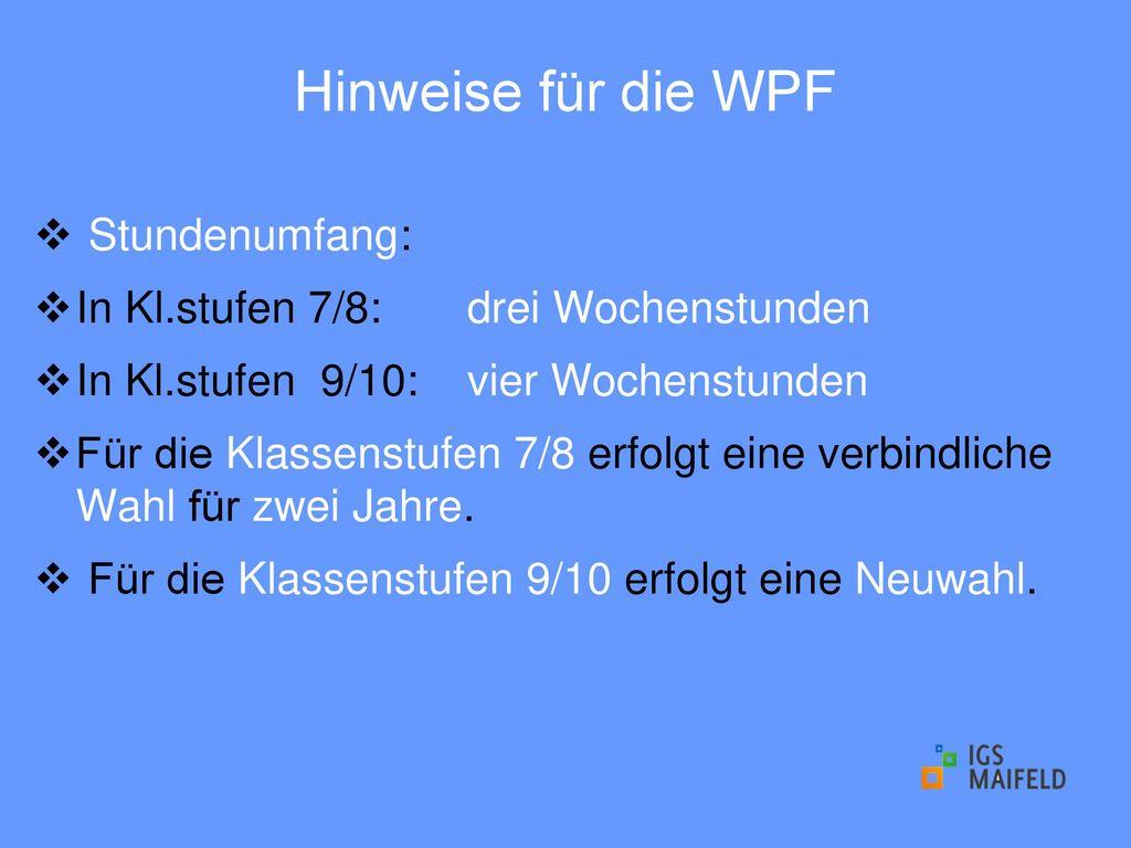 Hinweise für die WPF Stundenumfang: