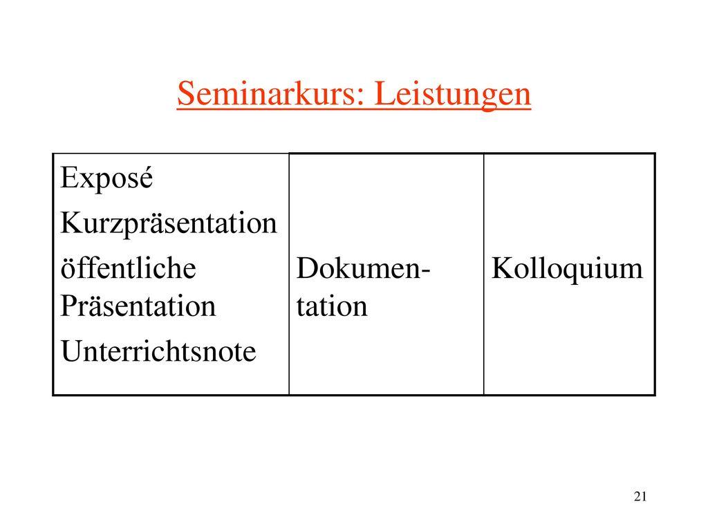 Beispiele für Seminarkursthemen