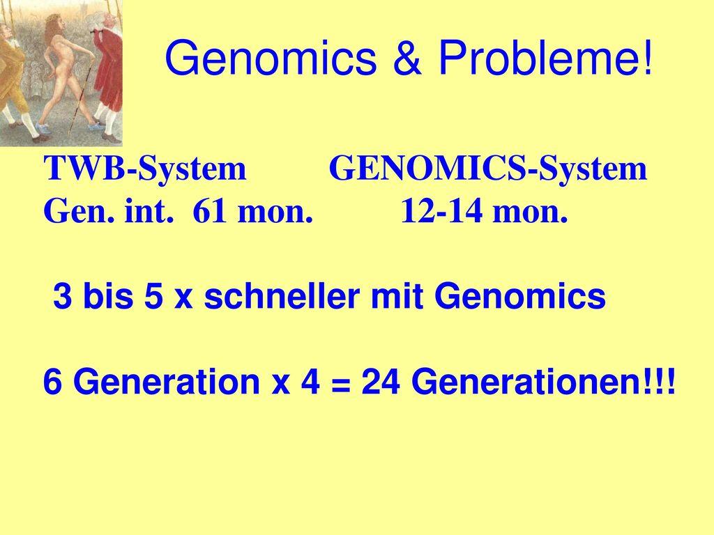 Genomics & Probleme! TWB-System GENOMICS-System