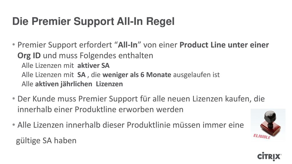 Die Premier Support All-In Regel
