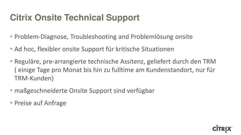 Citrix Onsite Technical Support