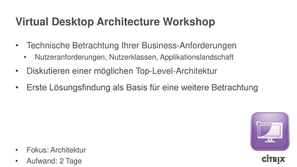 Virtual Desktop Architecture Workshop