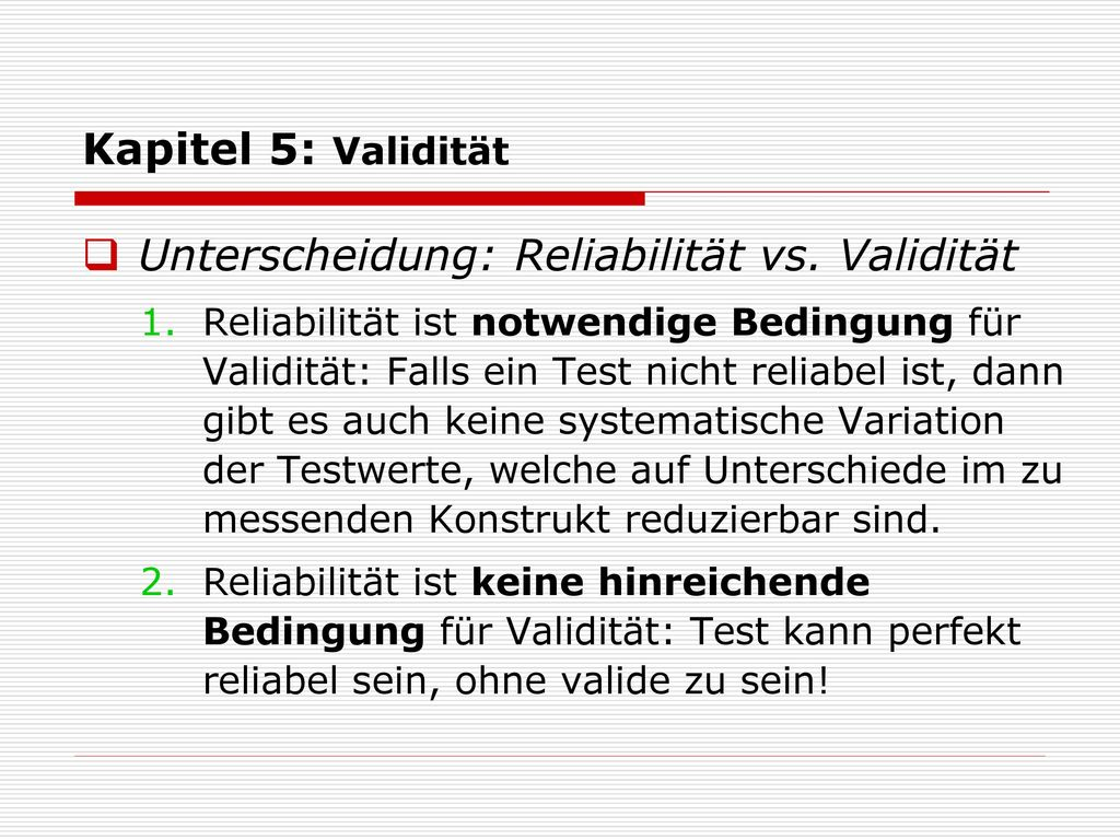 Unterscheidung: Reliabilität vs. Validität