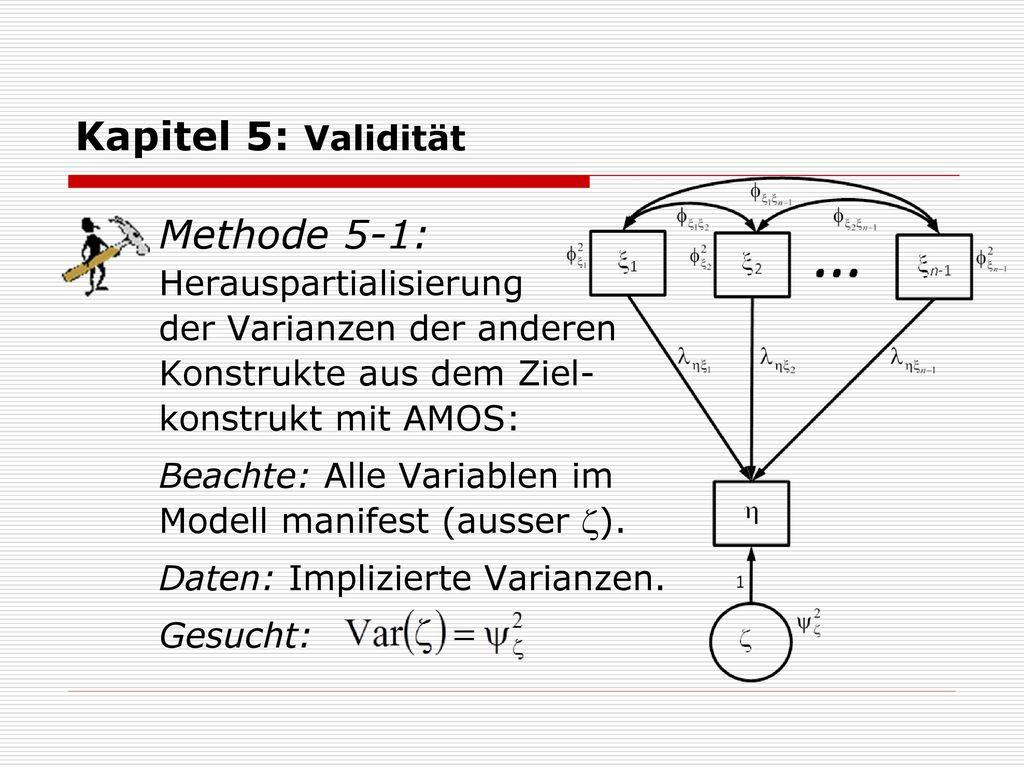 Kapitel 5: Validität Methode 5-1: Herauspartialisierung der Varianzen der anderen Konstrukte aus dem Ziel- konstrukt mit AMOS: