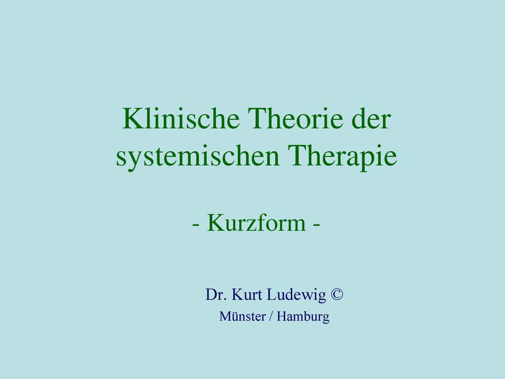 Klinische Theorie der systemischen Therapie - Kurzform -