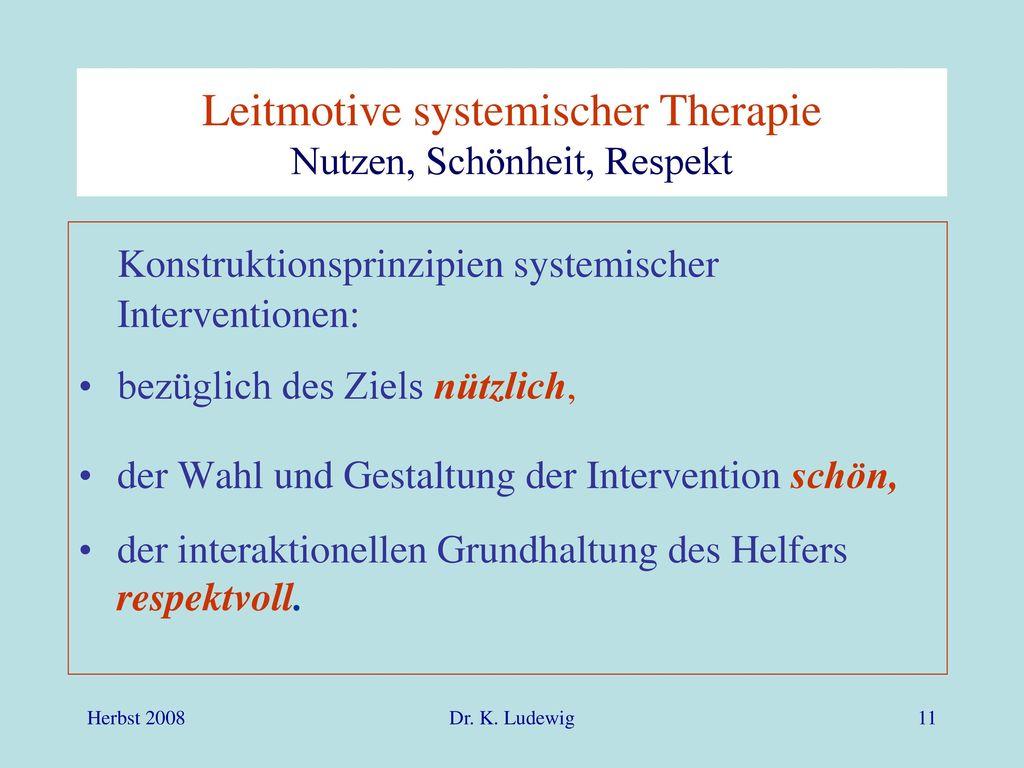Leitmotive systemischer Therapie Nutzen, Schönheit, Respekt