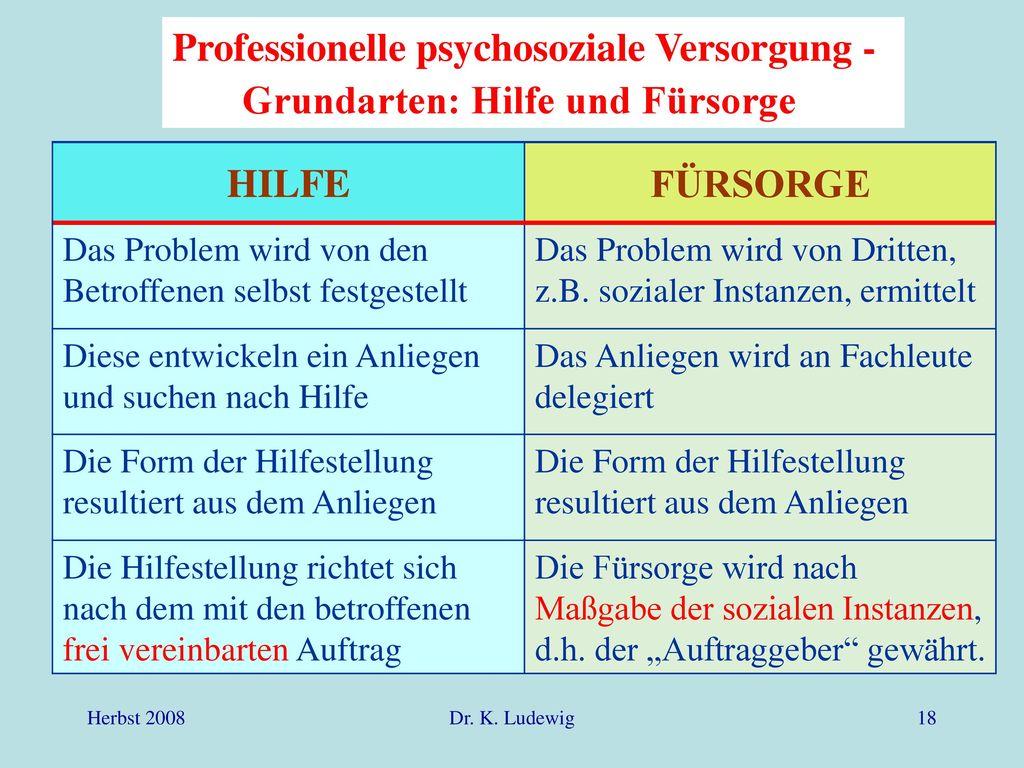 Professionelle psychosoziale Versorgung -