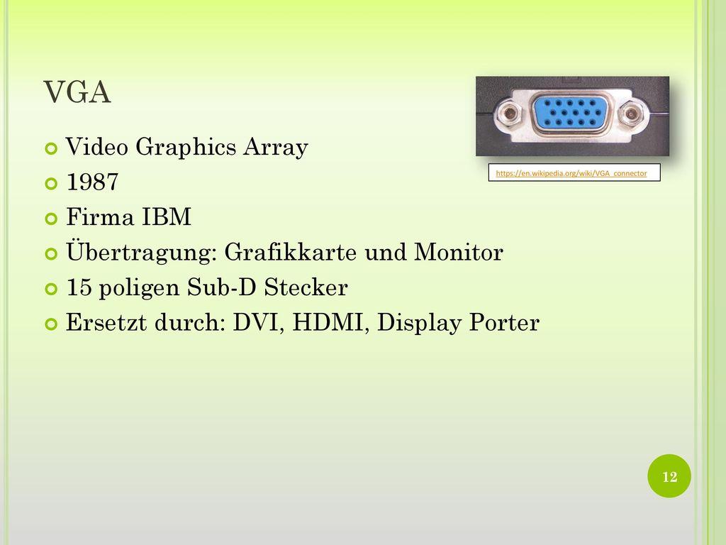 VGA Video Graphics Array 1987 Firma IBM
