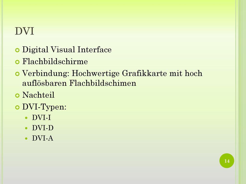 DVI Digital Visual Interface Flachbildschirme