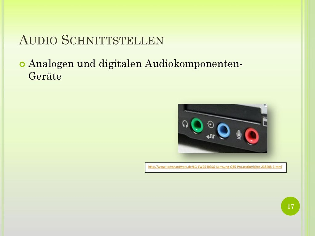 Audio Schnittstellen Analogen und digitalen Audiokomponenten- Geräte