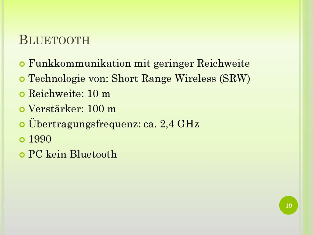 Bluetooth Funkkommunikation mit geringer Reichweite