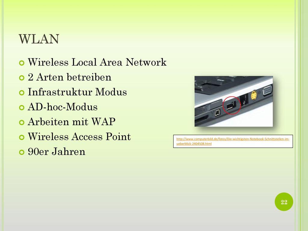 WLAN Wireless Local Area Network 2 Arten betreiben Infrastruktur Modus