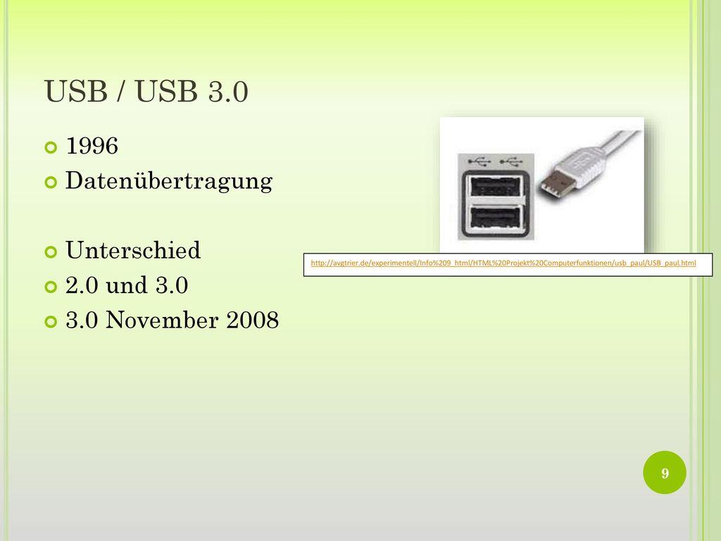 USB / USB 3.0 1996 Datenübertragung Unterschied 2.0 und 3.0