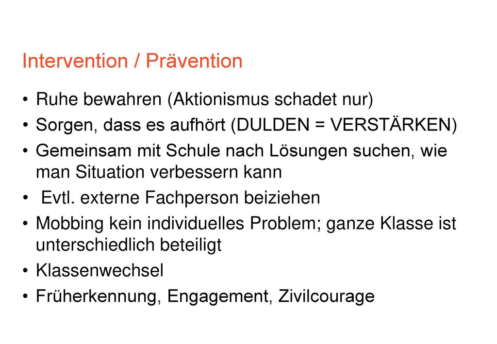 Intervention / Prävention