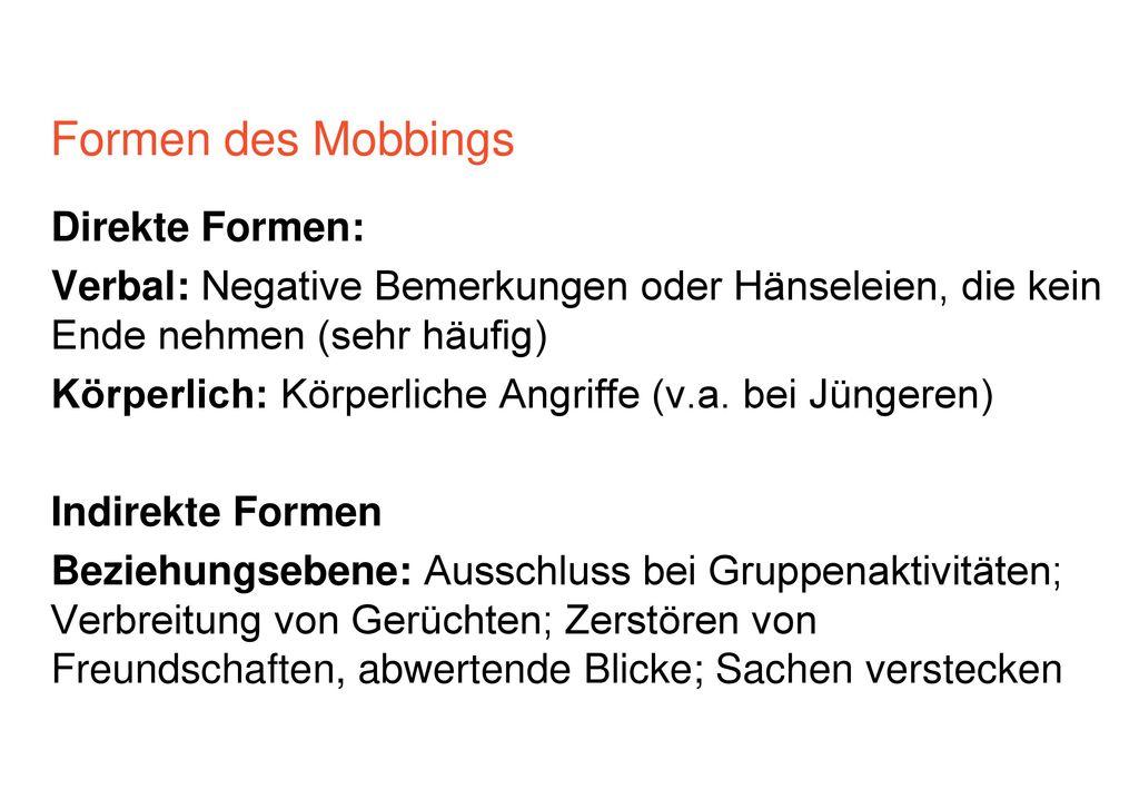 Formen des Mobbings