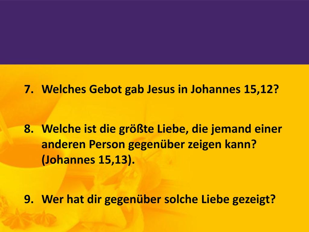 Welches Gebot gab Jesus in Johannes 15,12