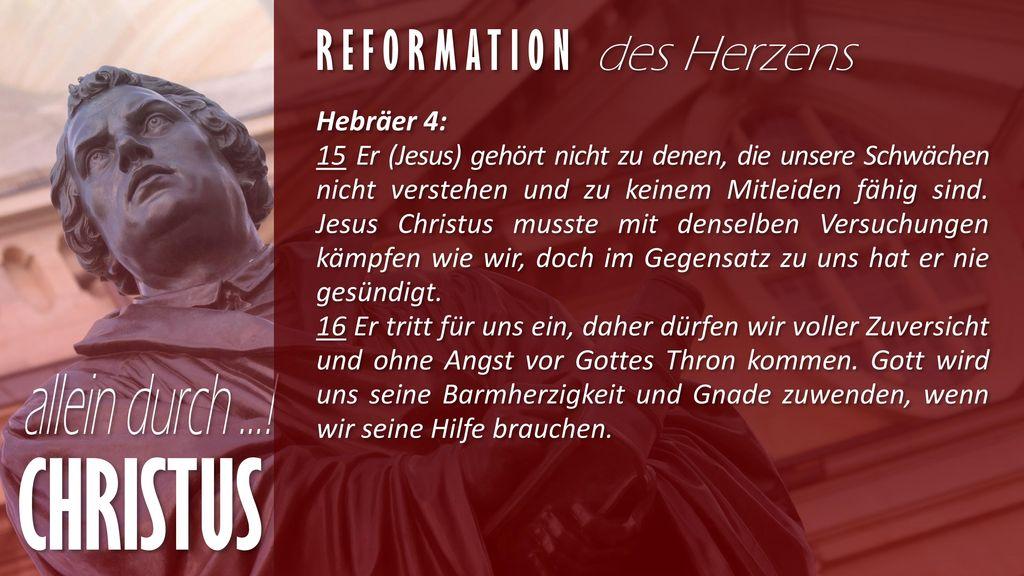CHRISTUS Reformation des Herzens Hebräer 4: