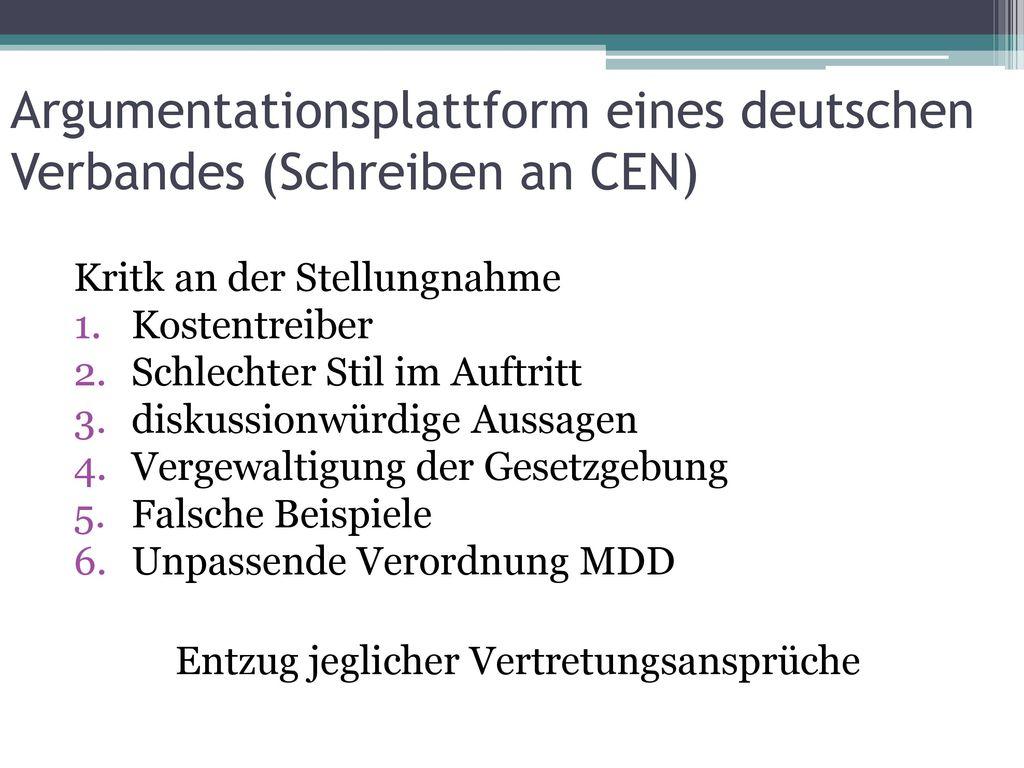 Argumentationsplattform eines deutschen Verbandes (Schreiben an CEN)
