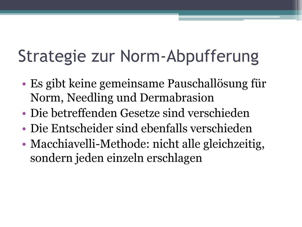 Strategie zur Norm-Abpufferung