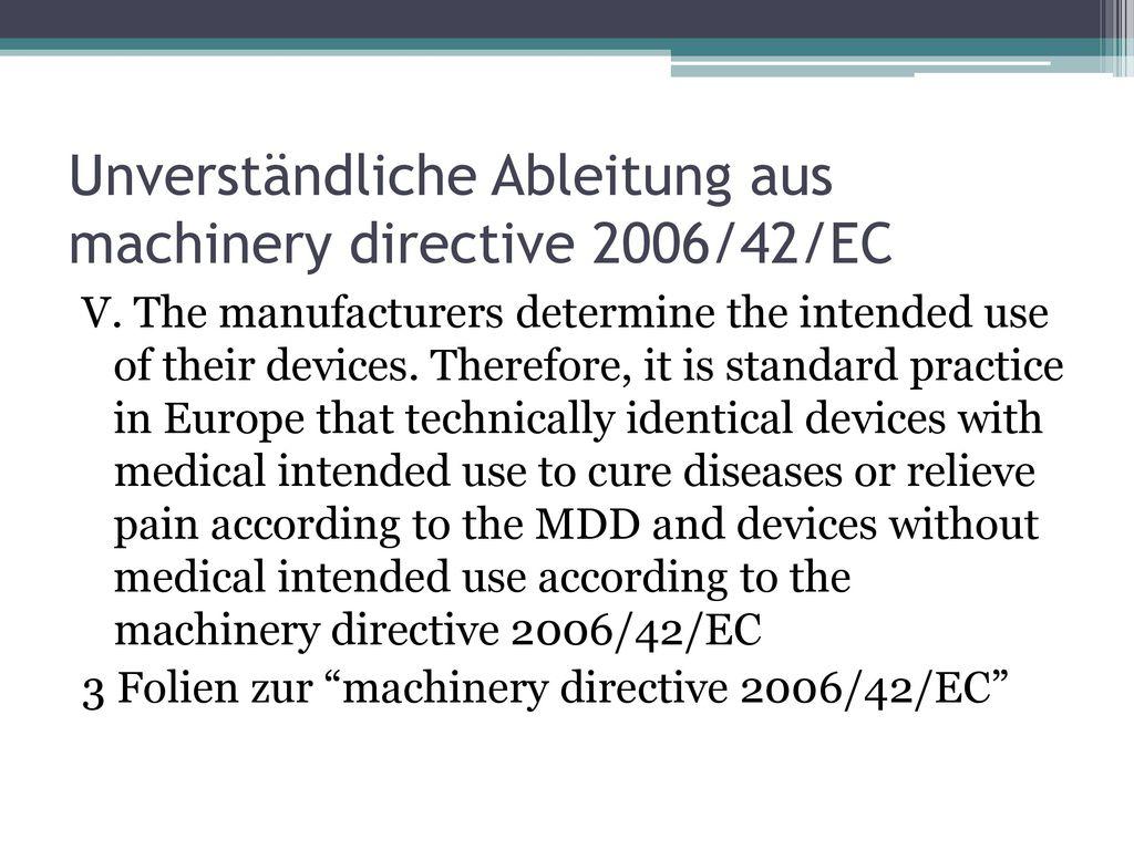Unverständliche Ableitung aus machinery directive 2006/42/EC
