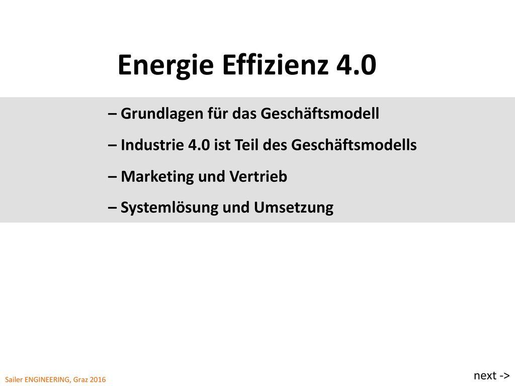 Energie Effizienz 4.0 – Grundlagen für das Geschäftsmodell