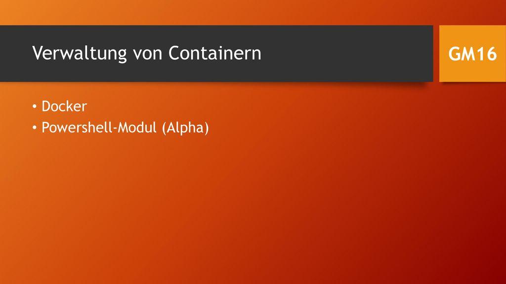 Verwaltung von Containern
