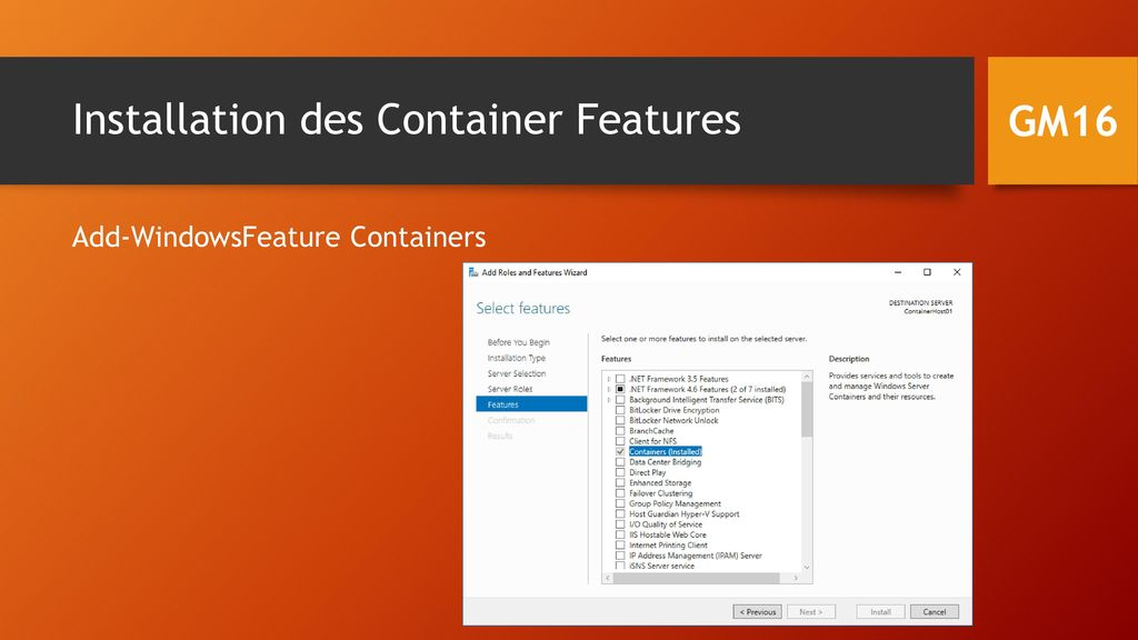 Installation des Container Features