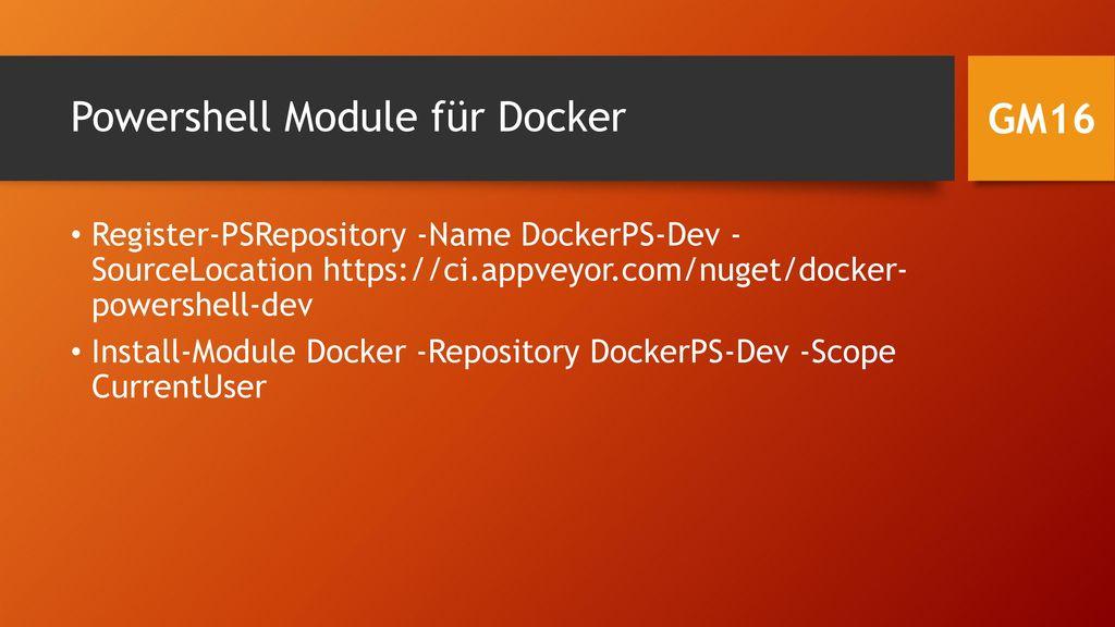 Powershell Module für Docker