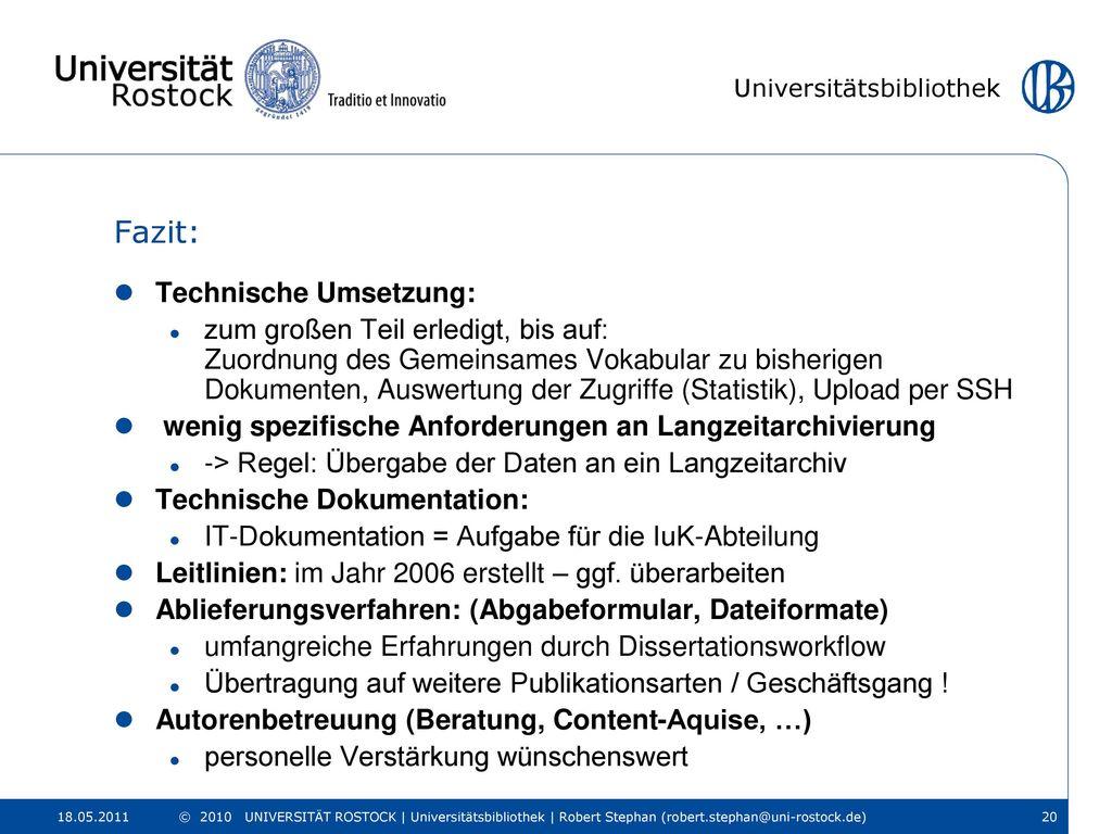 Fazit: Technische Umsetzung:
