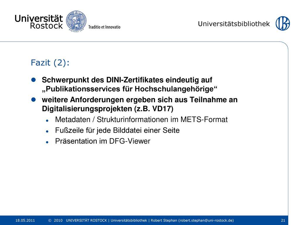 """Fazit (2): Schwerpunkt des DINI-Zertifikates eindeutig auf """"Publikationsservices für Hochschulangehörige"""