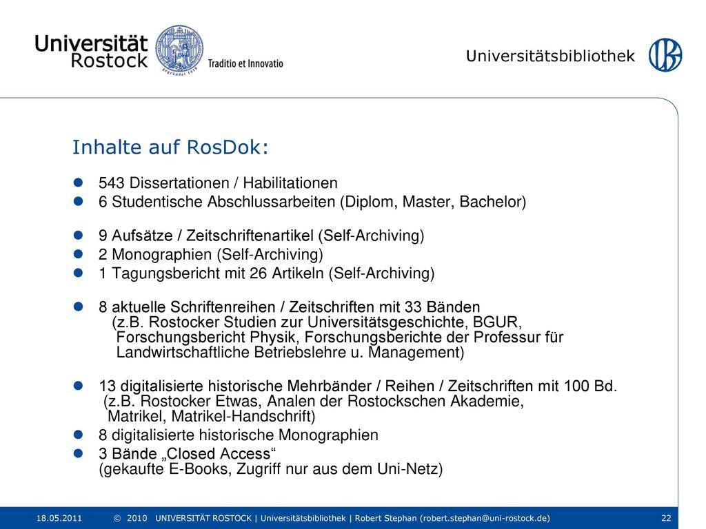 Inhalte auf RosDok: 543 Dissertationen / Habilitationen