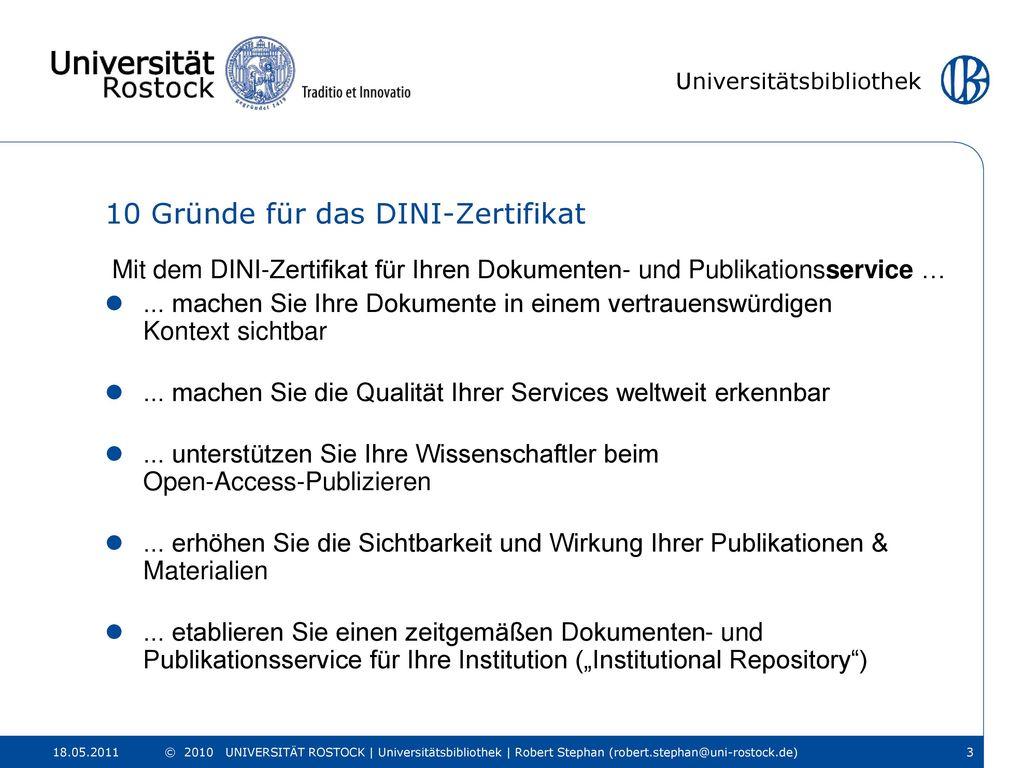 10 Gründe für das DINI-Zertifikat