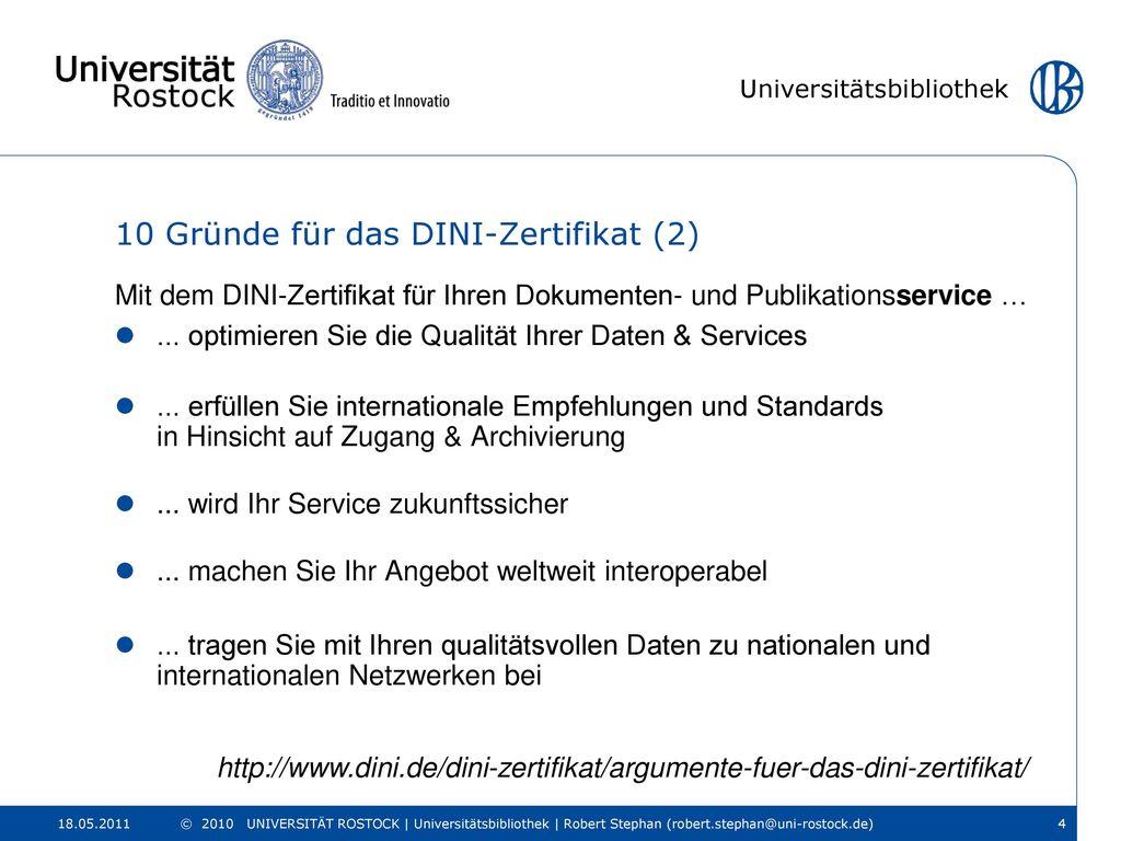 10 Gründe für das DINI-Zertifikat (2)