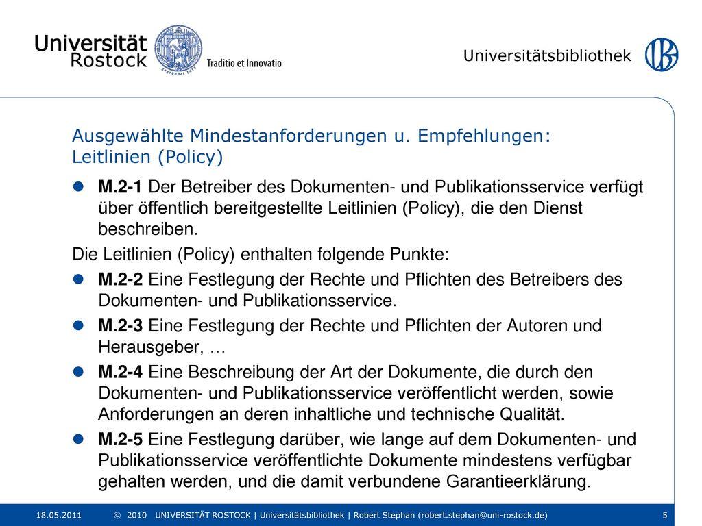 Ausgewählte Mindestanforderungen u. Empfehlungen: Leitlinien (Policy)