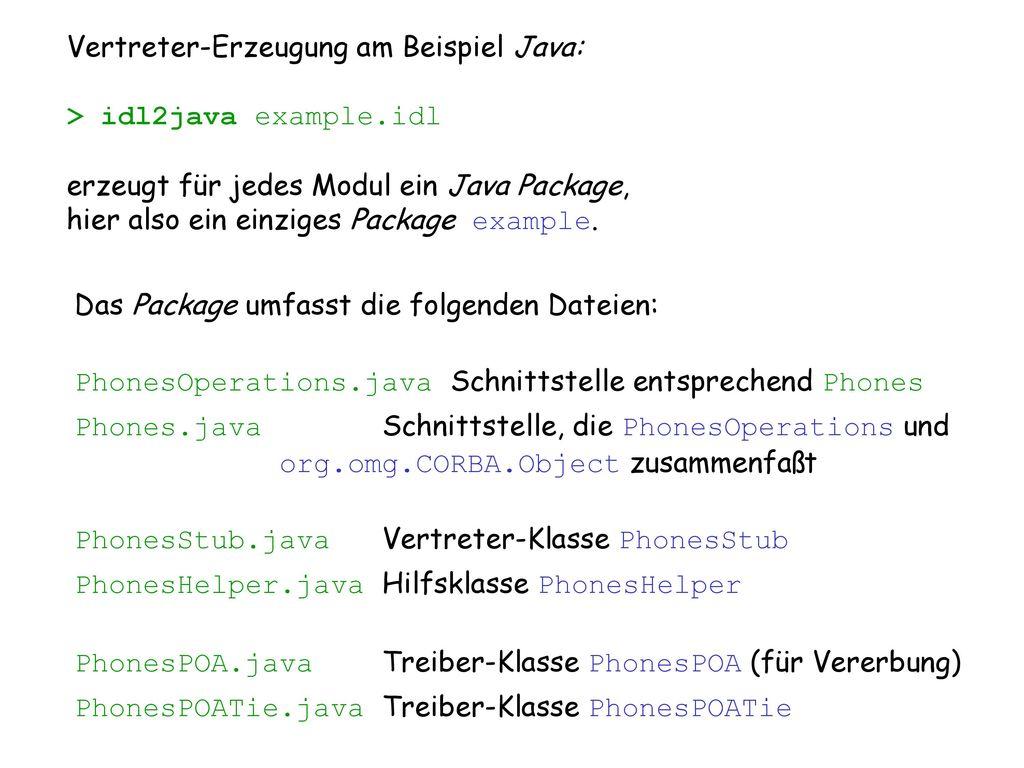 Vertreter-Erzeugung am Beispiel Java: