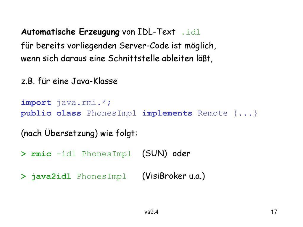 Automatische Erzeugung von IDL-Text .idl