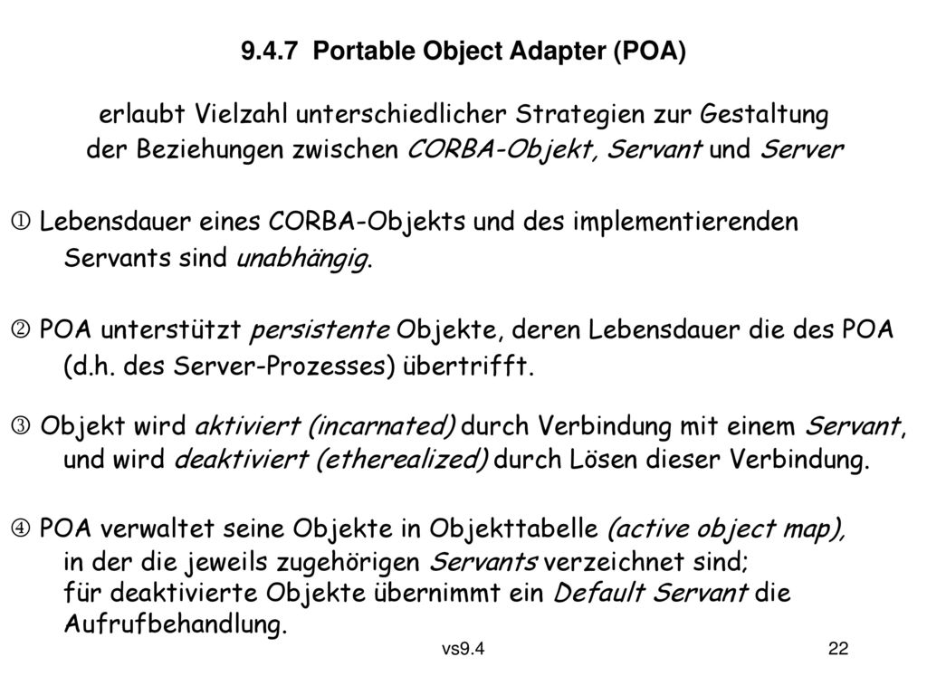 9.4.7 Portable Object Adapter (POA)