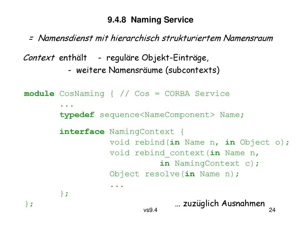 = Namensdienst mit hierarchisch strukturiertem Namensraum