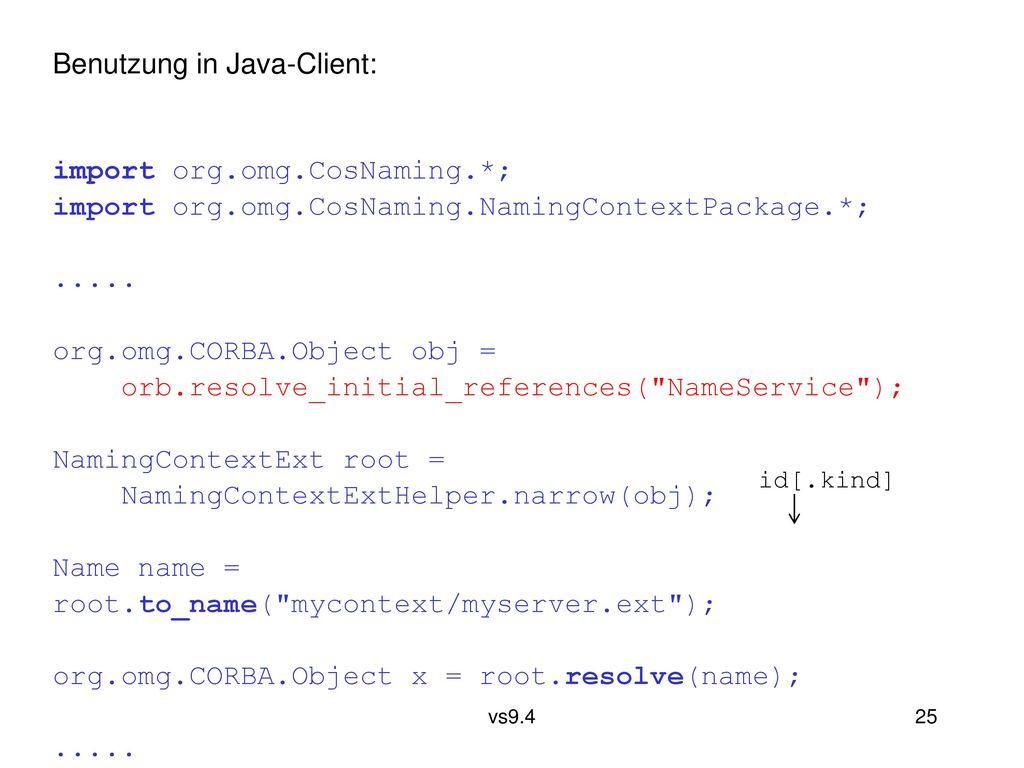 Benutzung in Java-Client: